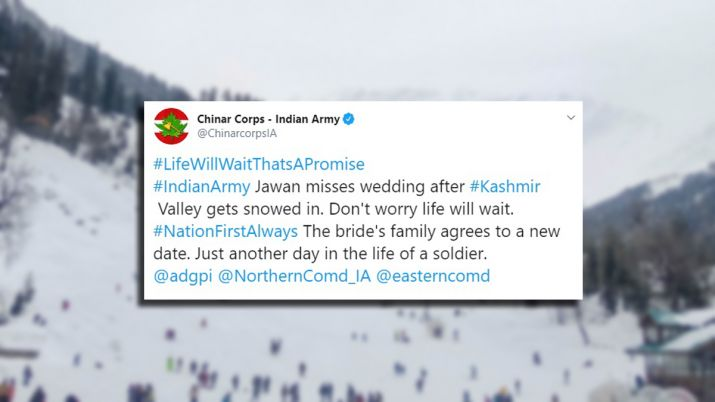 indian army, wedding, snowfall,