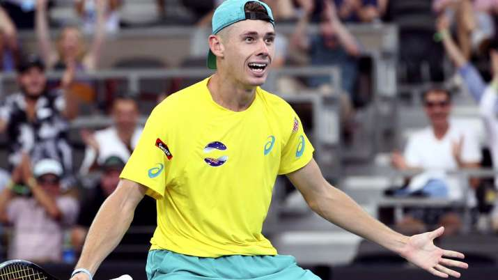 Alex de Minaur of Australia reacts after he won his match