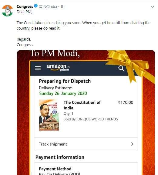 Congress sends copy of Constitution to PM Modi as Republic Day gift