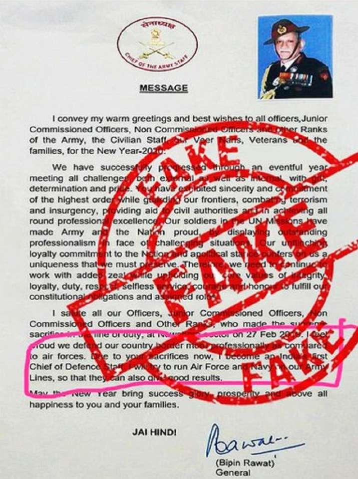 Fact check, Fact check bipin rawat letter, bipin rawat fake letter, bipin rawat, CDS bipin rawat, Fa