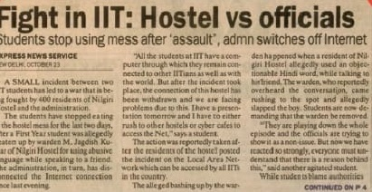 India Tv - The newspaper clipping from October 24, 2002