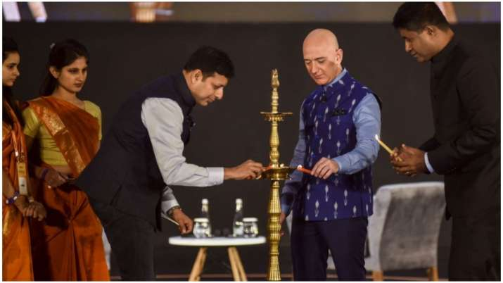 Amazon boss Jeff Bezos at an event in New Delhi on Wednesday.