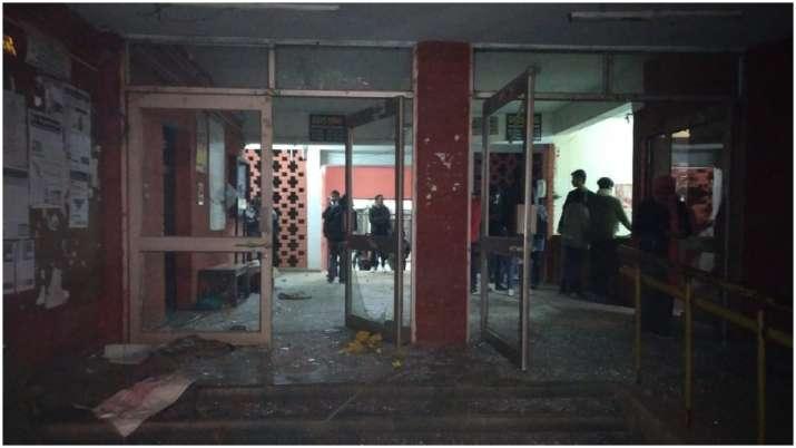 Video   masked mob goes on rampage inside JNU
