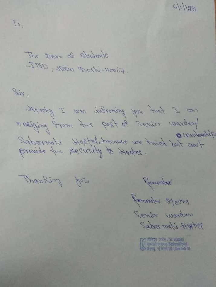 India Tv - JNU violence: Warden of Sabarmati hostel resigns