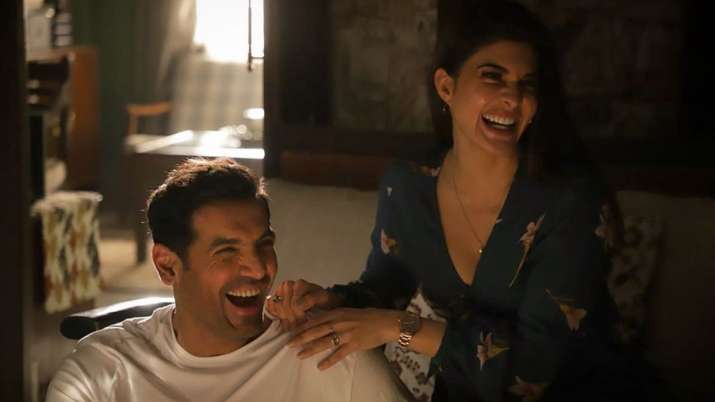 Jacqueline Fernandez, John Abraham share a hearty laugh on Attack sets