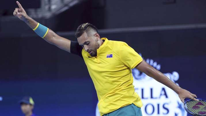 Nick Kyrgios of Australia reacts after winning his match