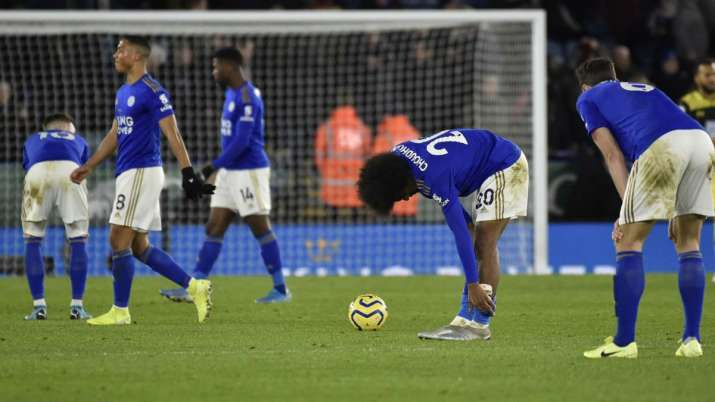 Leicester's Hamza Choudhury, centre reacts after the end of