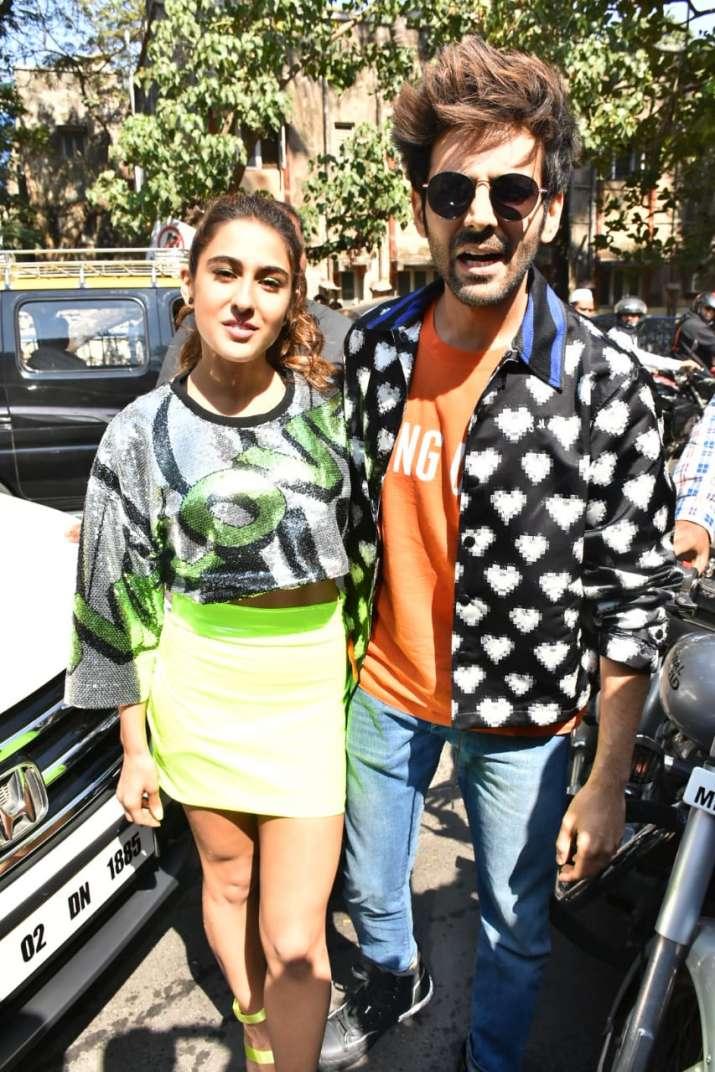 India Tv - Sara Ali Khan and Kartik Aaryan at the trailer launch of Love Aaj Kal