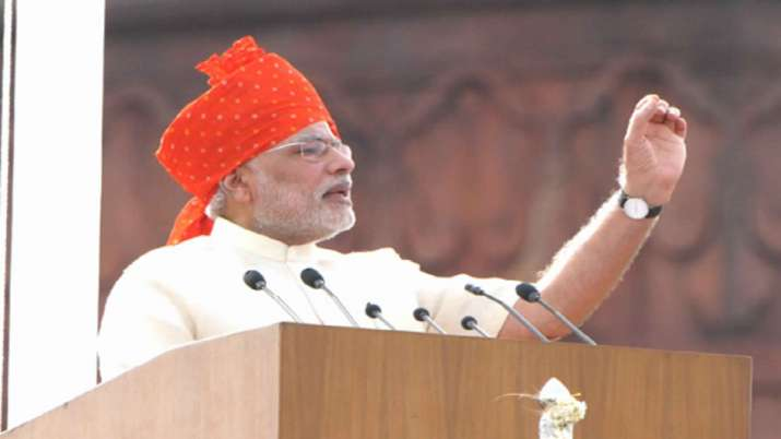 India Tv - PM Modi sports saffron 'pagdi' in 2014 during Independence Day celebrations, during his first tenure as Prime Minister.