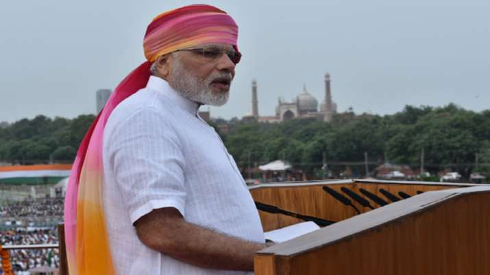 India Tv - Once again, in 2016 during Independence Day celebrations, PM Modi sported a pink-saffron coloured pagdi.