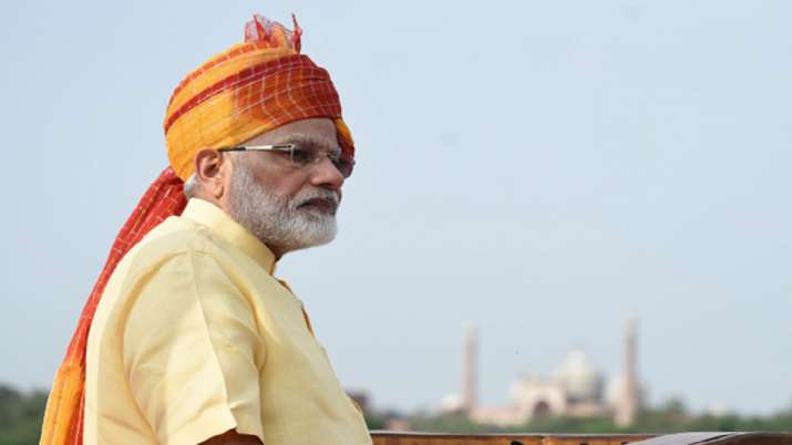 India Tv - PM Modi sporting a pagdi during Independence Day celebrations in 2017