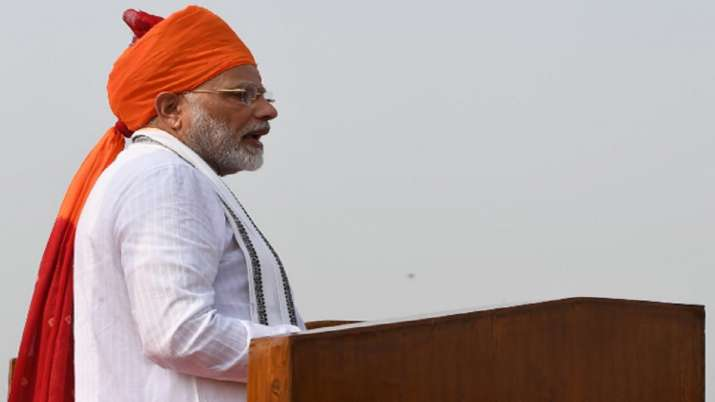 India Tv - During Independence Day celebrations in 2018, Prime Minister Modi continued with his tradition of sporting pagdi.