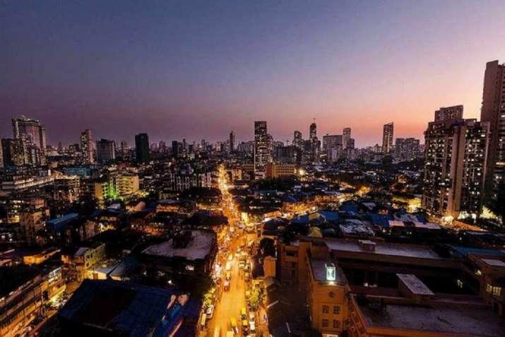Looking down on a Mumbai neighbourhood from a high-rise