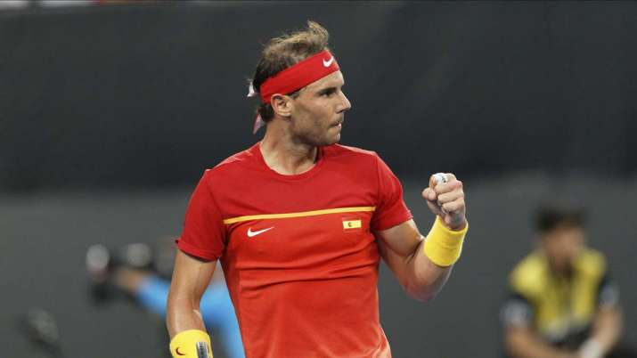Rafael Nadal of Spain reacts after winning a point against