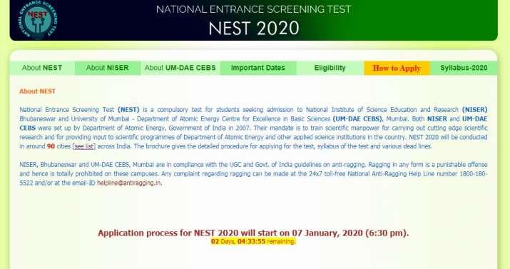 NEST 2020: Online application to begin