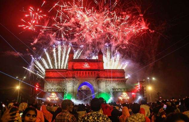 Mumbai: Fireworks are seen over the historic Gateway of
