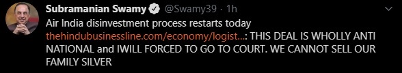 India Tv - Subramanian Swamy tweet screenshot