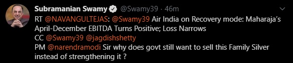 India Tv - Subramanian Swamy Twitter screenshot 2