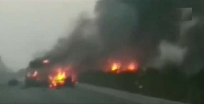 Truck carrying LPG cylinders explodes in Surat