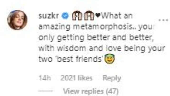 India Tv - Sussane Khan's Instagram comment