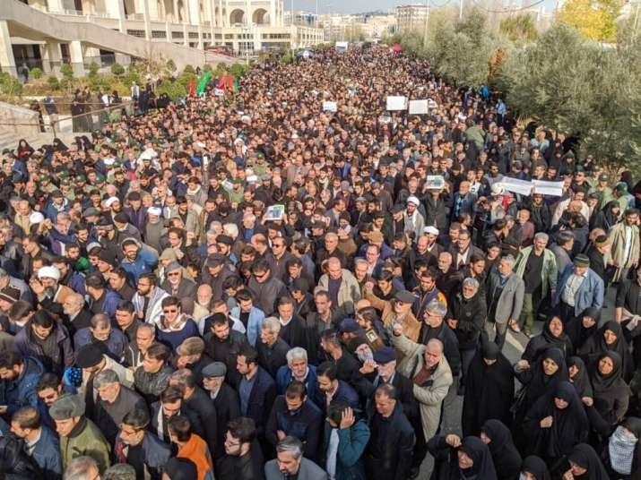 Tehran: Protesters demonstrate over the U.S. airstrike in Iraq that killed Qassem Soleimani