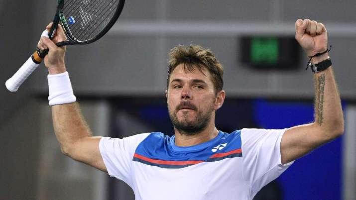 Switzerland's Stan Wawrinka celebrates after defeating