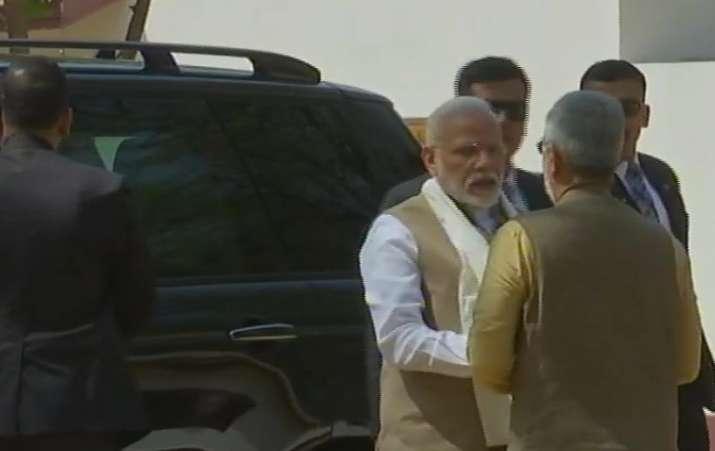 India Tv - Prime Minister Narendra Modi arrives at Sabarmati Ashram. US President Donald Trump to arrive at the