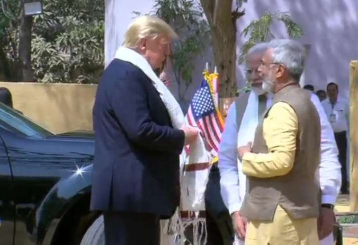 India Tv - US President Donald Trump and First Lady Melania Trump arrive at Sabarmati Ashram. They were receive