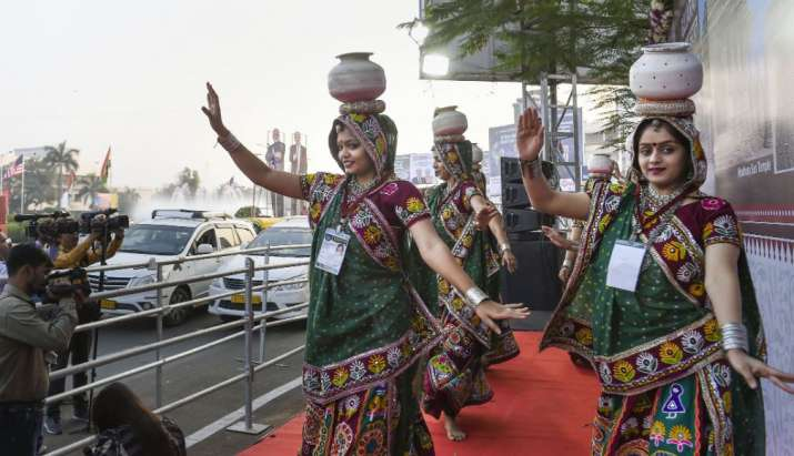 India Tv - Folk dancers rehearse their performance along a route U.S. President Donald Trump and first lady Mel