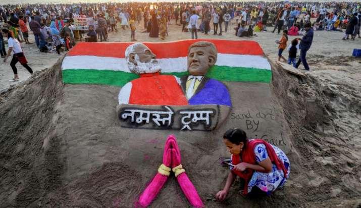 India Tv - Sand artist Laxmi Gaud creates a sculpture of Prime Minister Narendra Modi and US President Donald T