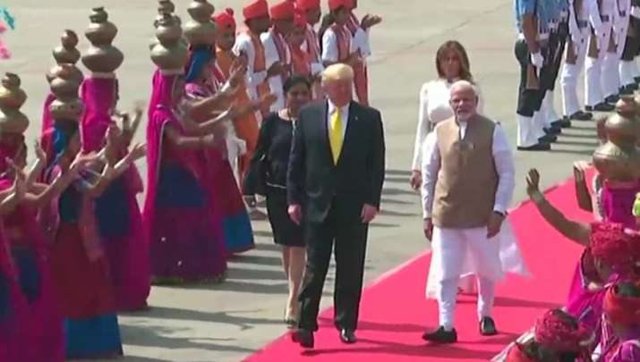 India Tv - Gujarati folk dancers perform at the arrival of US President Donald Trump and First Lady Melania Tru