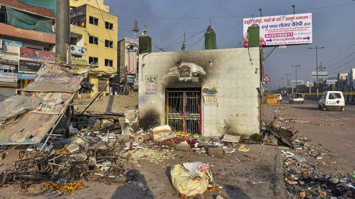 India Tv - A neighbourhood vandalised by rioters during clashes between those against and those supporting the Citizenship (Amendment) Act in northeast Delhi