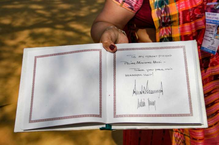 India Tv - A view of the Sabarmati Ashram's visitor's book signed by US President Donald Trump and First Lady Melania Trump during their visit to Sabarmati Ashram in Ahmedabad