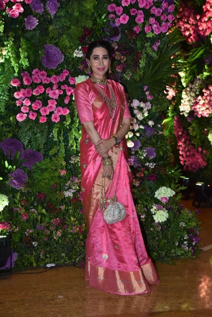 India Tv - Karisma Kapoor stuns in pink saree