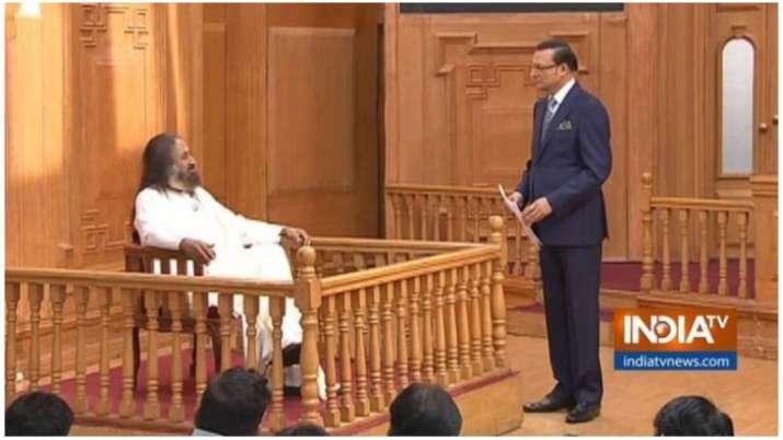 Spiritual guru Sri Sri Ravi Shankar in Aap Ki Adalat with Rajat Sharma.