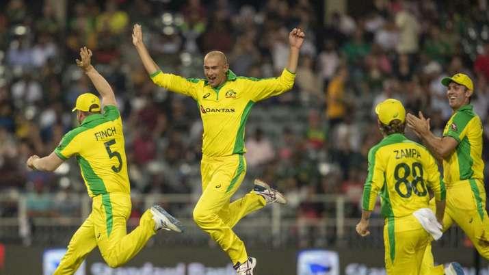 Australia's bowler Ashton Agar, second from left,