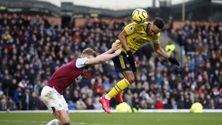 Arsenal's Pierre-Emerick Aubameyang, right, and Burnley's