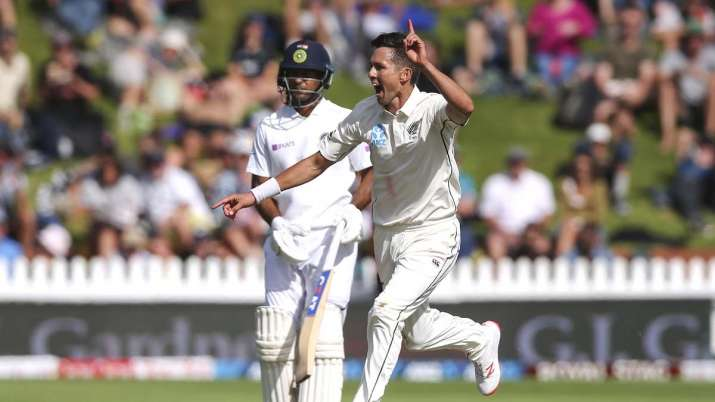 Trent Boult of New Zealand celebrates after taking the