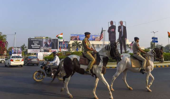 India Tv - Horse mounted police personnel patrol along a route U.S. President Donald Trump and first lady Melan