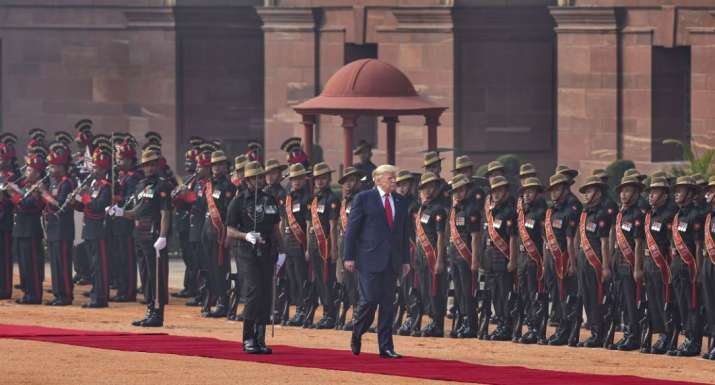 India Tv - New Delhi: US President Donald Trump inspects the guard of honour during his ceremonial welcome at R