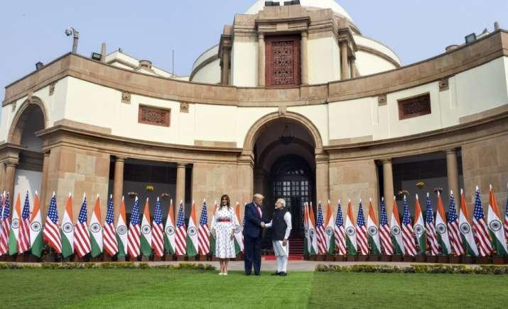 India Tv - New Delhi: Prime Minister Narendra Modi shakes hands with US President Donald Trump prior to a meeti