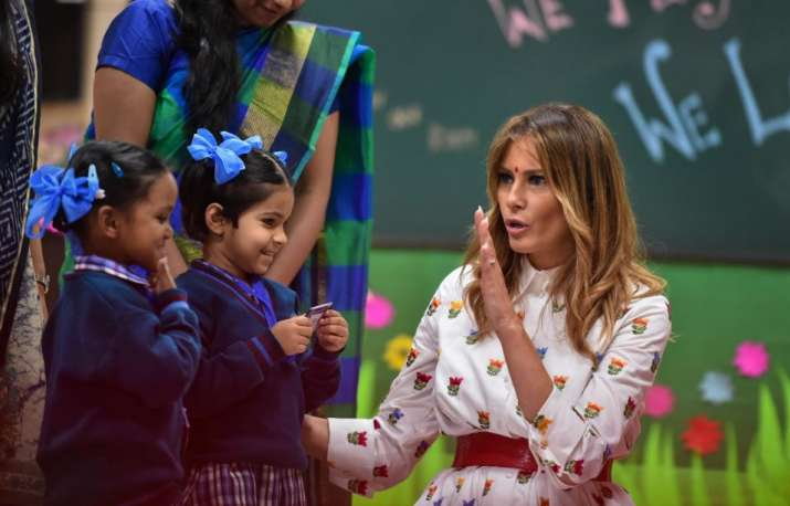 India Tv - New Delhi: US First Lady Melania Trump interacts with school children during her visit to a governme
