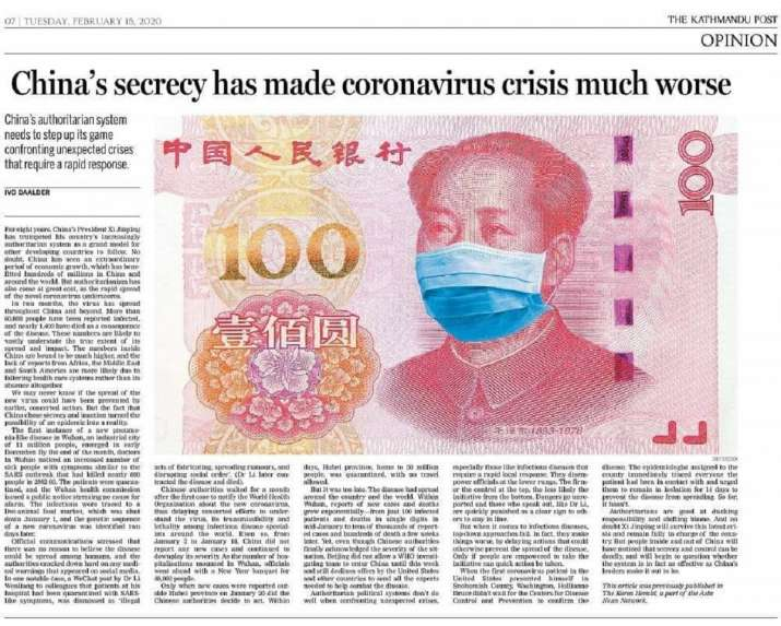 The op-ed on coronavirus, as it appeared in Kathmandu Post