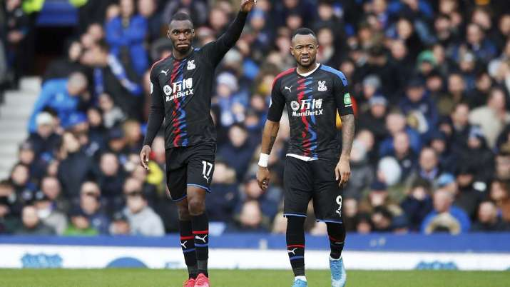 Crystal Palace's Christian Benteke, left, celebrates