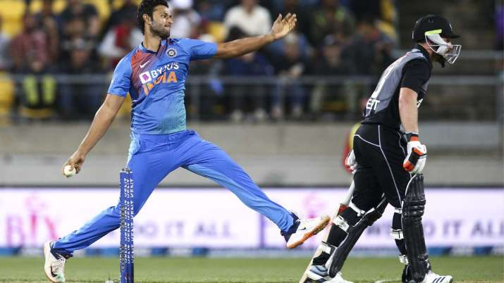 Shivam Dube of India bowls during game four of the