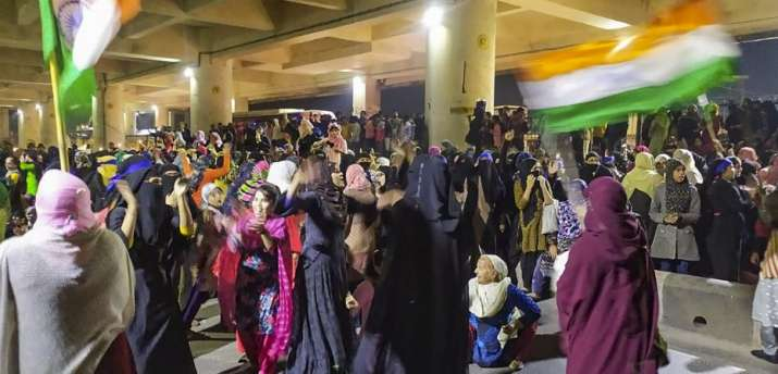 Muslim women during a dharna against Citizenship Amendment Act (CAA), National Register of Citizens