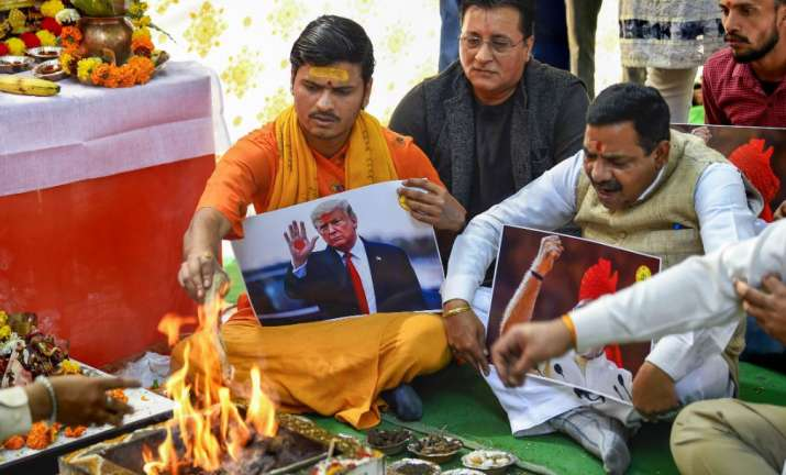 India Tv - Members of the Hindu Sena perform 'Hawan' on the occasion of U.S.President Donald Trump's visit to I