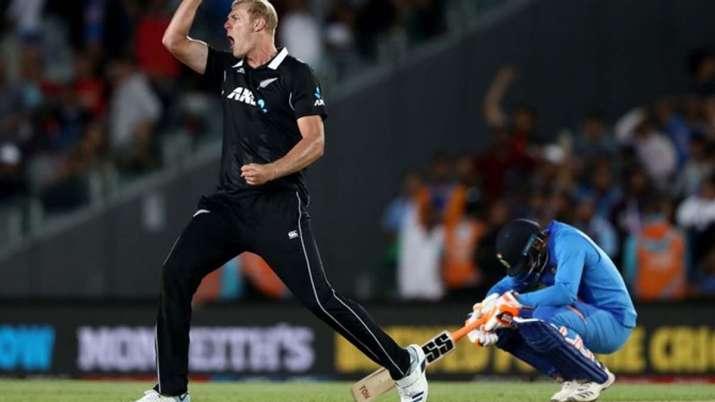 Kyle Jamieson of the Black Caps celebrates the wicket of