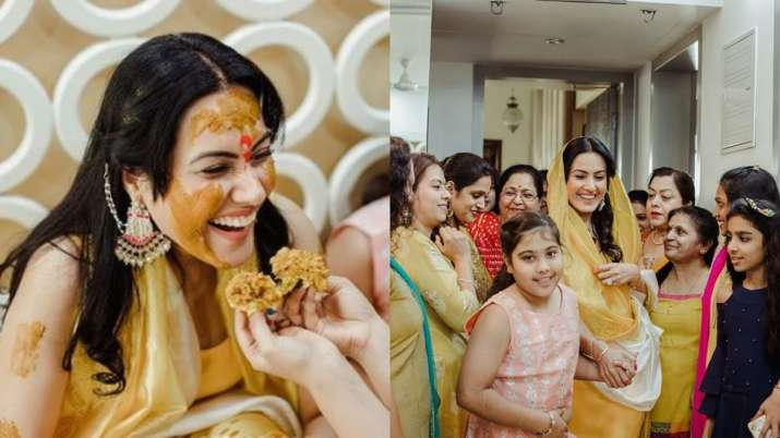 Kamya Panjabi looks like a happy bride to be during her haldi ceremony. See photos