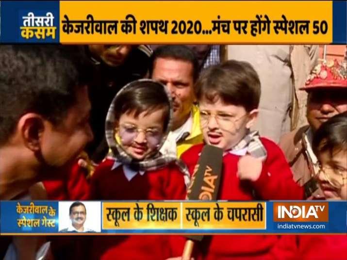 Little 'mufflermen' wait to meet Arvind Kejriwal ahead of swearing-in ceremony   Watch